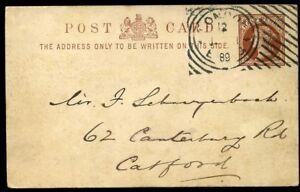 HOSTER-Machine-Cancel-QV-1889-d-Brown-Postcard-Fine-Strike