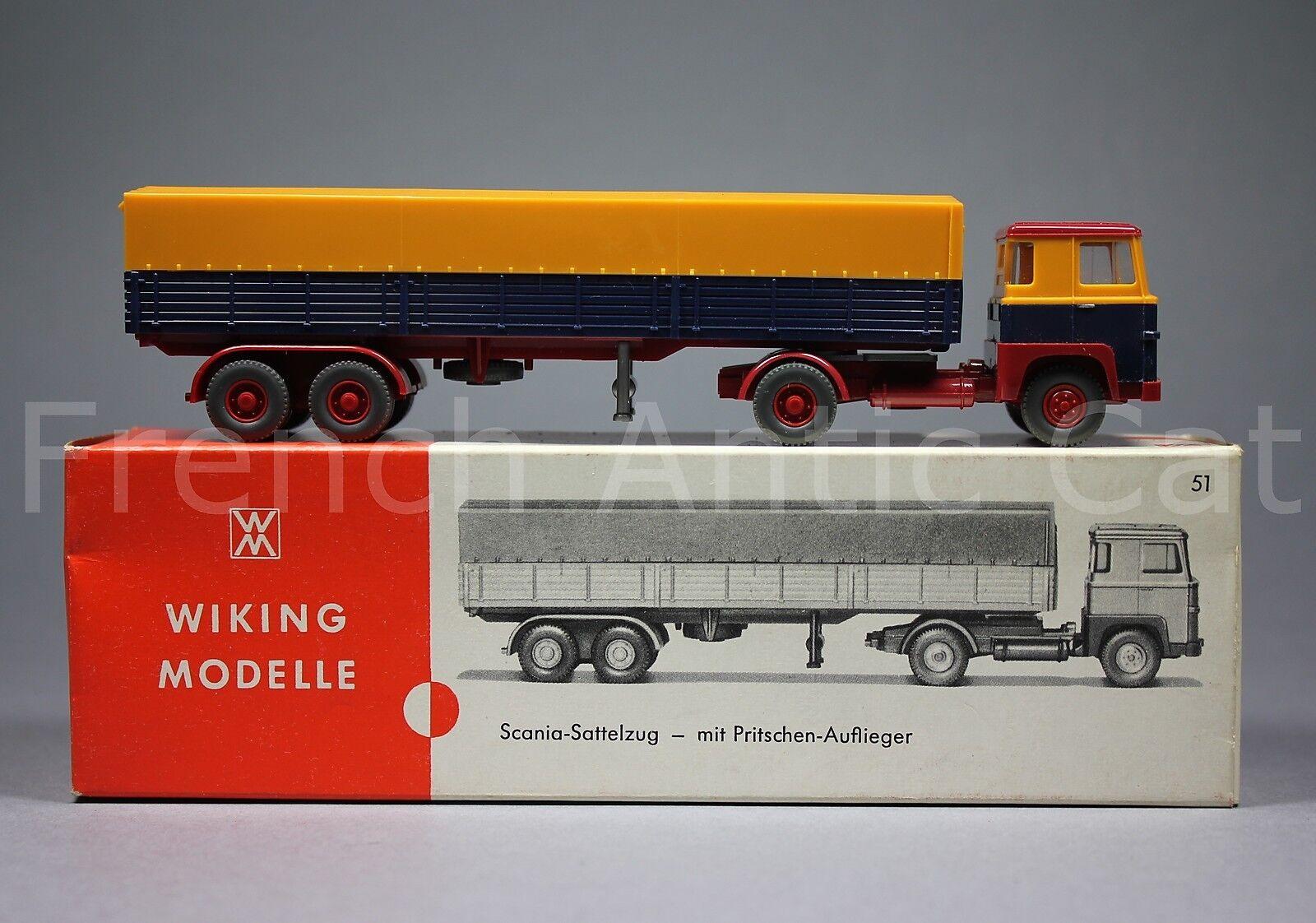 U527 Wiking modelle Ho Scania sattelzug mit Pritschen Auflieger 51 2018 camion