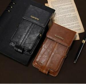 Phone Bag Leather Universal Waist Cases Card Slot Mobile Pouch Strap Cover Purse