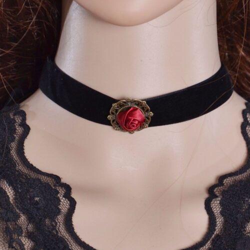Choker Rose Rot weinrot Schwarz Kropfband Samt Band Halsband Gothic Collier NEU