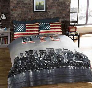 NEW-YORK-CITY-AMERICAN-BLUE-REVERSIBLE-COTTON-BLEND-DOUBLE-4-PIECE-BEDDING-SET