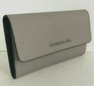 ab6355ae237bc1 New Michael Kors Jet Set Travel Large Trifold wallet Leather Pearl ...