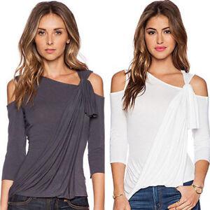 8ebd96b2580dde Women Slim Basic Tee Cold Shoulder Top 3 4 Sleeve Blouse Casual ...