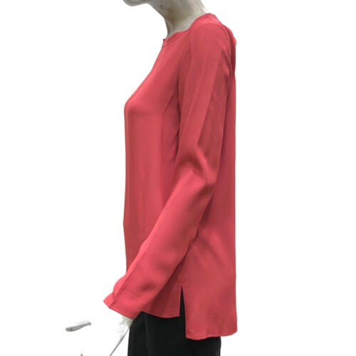 Caractere Shirt Donna Blusa Camicia Rosa Manica Lunga Misto Seta T-shirt