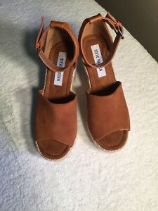 Steve-Madden-Rust-Colored-Suede-Leather-Wedges-8M