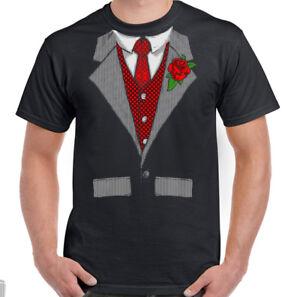 Hombre-Divertido-Esmoquin-Camiseta-Disfraz-Completo-Traje-Doo-Camisa-amp-Corbata