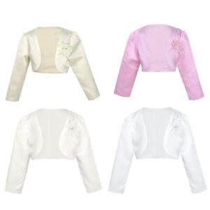 Kids Girls' Long Sleeve Beaded Bolero Jacket Shrug Short Cardigan Dress Cover up