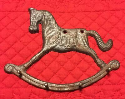 4hooks each .6 deep Cast Iron Rocking Horse Wall Hooks Fun set of 4 hooks on 8 rocking bar of horse 6.5 high