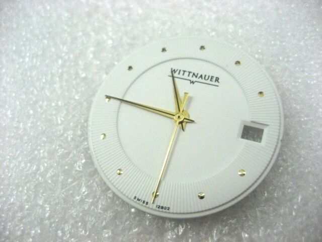 WITTNAUER SWISS 12B02 DIAL/HANDS FOR MEN'S WATCH S/S & WHITE DIAL GOLD PL HANDS