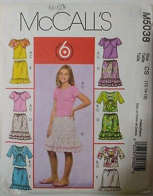 5038 MCCALL/'S GIRLS/' SHRUGS TANK TOP /& SKIRTS SZ 12-16