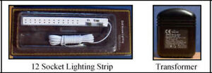 Dolls house 32 Bulb Transformer & 12 Socket Lighting Strip Kit plugs, wiring LGW