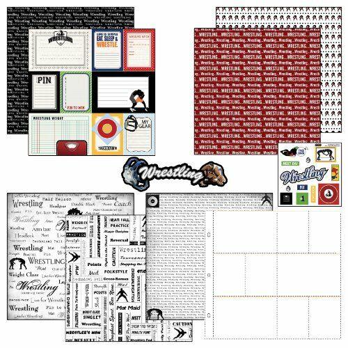 Scrapbook Customs Go Big Wrestling Themed Paper and Stickers Scrapbook Kit#37