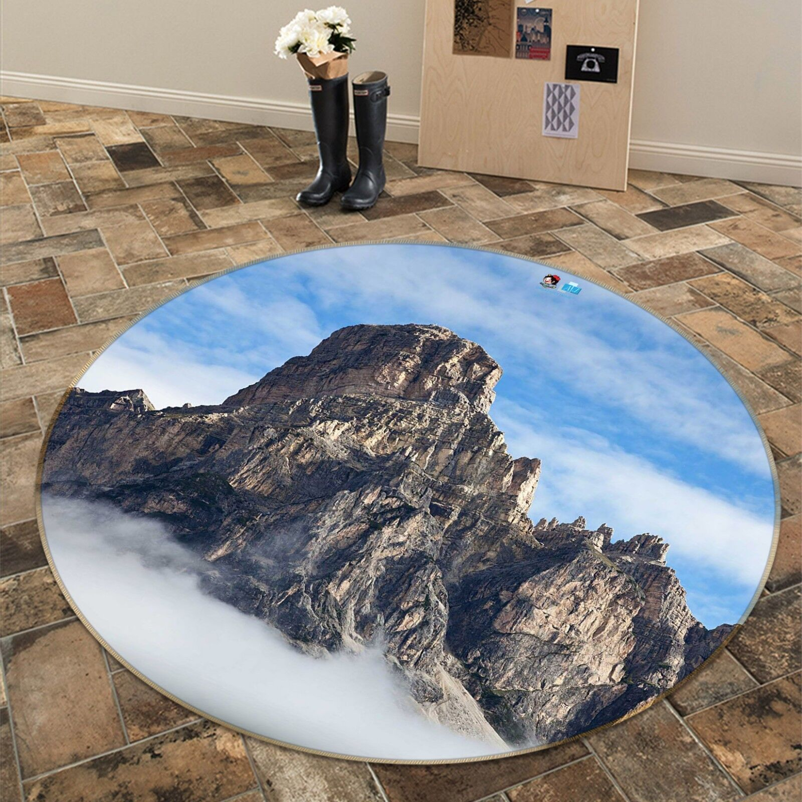 3D Wolke Bergspitze Bergspitze Bergspitze 5 Rutschfest Teppich Matte Raum Matte Runden Elegant Teppich 94f726