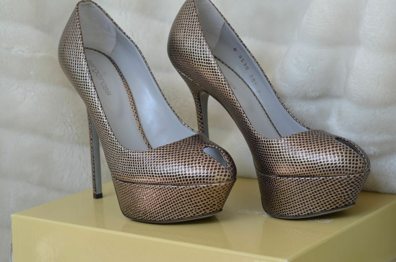 liquidazione SERGIO ROSSI scarpe heels Metallic nero Pewter 41 Platform Platform Platform Pumps key hole  vanno a ruba