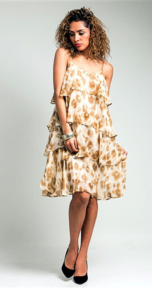Summer Time Chiffon Tier Dress Cream with Mocha Print s