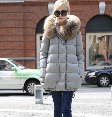 Womens Big Fur Collar Hooded Thicken Coats Duck Down Parka A type Cloak Jackets