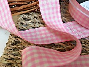 ~Bows Ribbon and Lace~Berisfords UK Gingham Ribbon Shade 57 Rose Pink