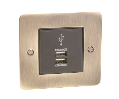 USB Mobile//Tablet Charging Module 2A In Decorative Antique Brass Wall Plate