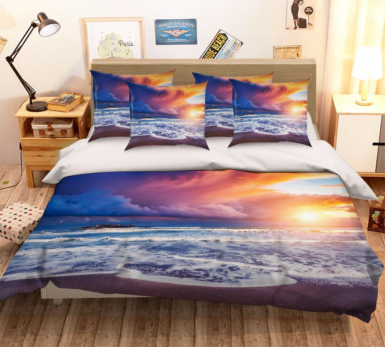 3D Sunset Sea 27 Bett Pillowcases Quilt Duvet Startseite Set Single Königin König Größe AU