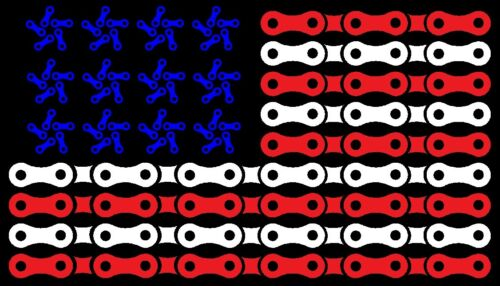 American Flag Chain Link Cycling Road Mountain Bike Car Decal Sticker