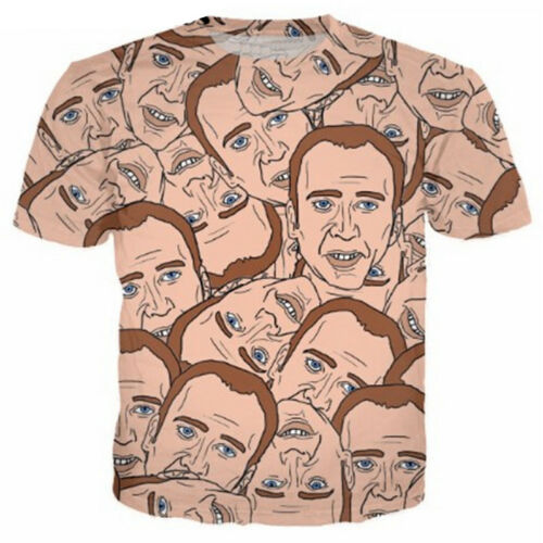 Women//Men Funny Nicolas Cage Cartoon 3D Print Casual T-Shirt Tee Short Sleeve T1