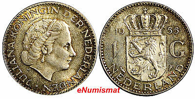 Netherlands Juliana I Silver 1955 1 Gulden 25mm KM# 184