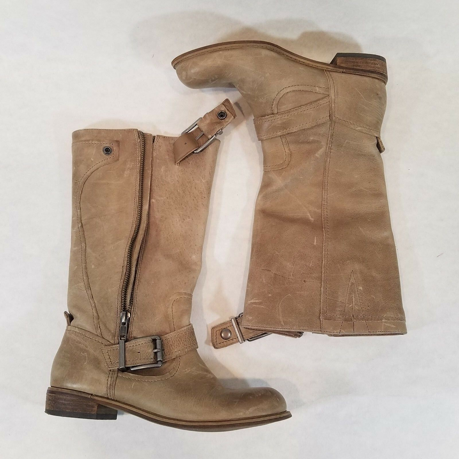Ladies Gianni Bini Ride On Motorcycle Boots Distressed Camel Color Size 6m