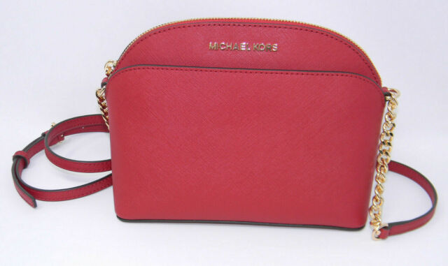 b2880f0fb6b7 New Michael Kors Emmy Scarlet Red Saffiano Leather Cindy Dome Crossbody  Purse