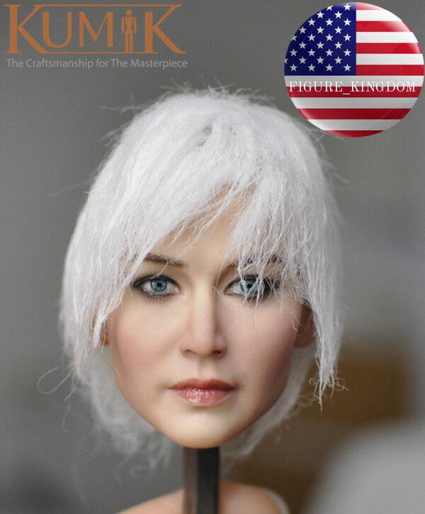 KUMIK 1 6 White Hair Female Head Sculpt KM18-37 For 12'' PHICEN Female Figure