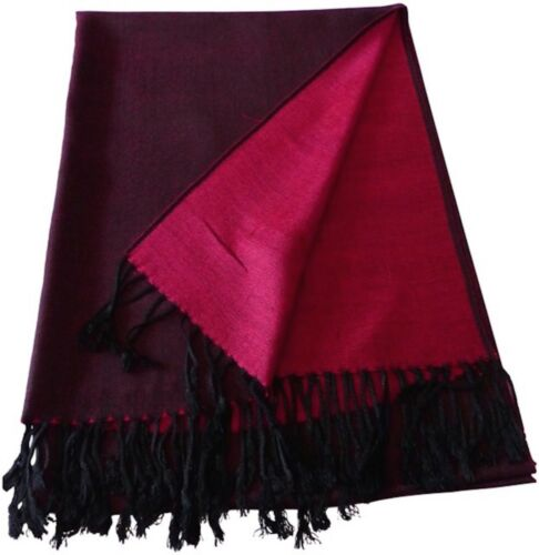CJ Apparel Pink /& Black Solid Colour Design Shawl Seconds Scarf Pashmina **NEW**