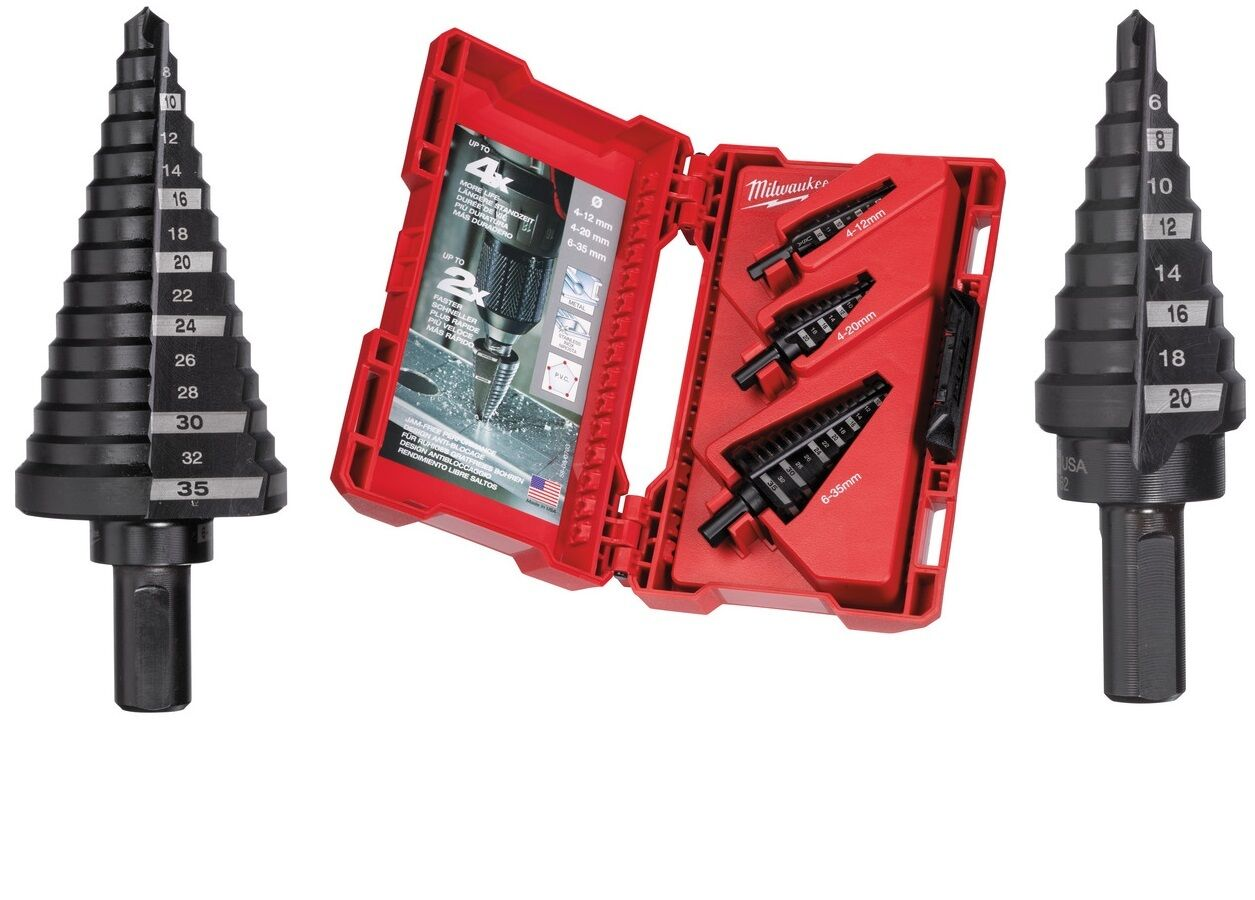 Milwaukee Stufenbohrer Set 3-tlg  4-12mm  4-20mm  6-35mm  48899399