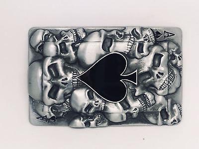 3d Asso Di Picche Skull Carte Da Gioco Cintura Fibbia In Metallo Stile Biker Gotico Pagano Uk-mostra Il Titolo Originale