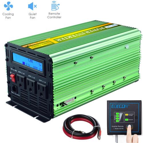 1000W 2000 Watt Power Inverter Pure Sine Wave 12V dc 110V 120V ac LCD Remote RV