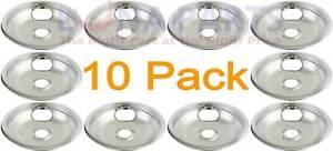 """10 Pack Brown Stove Range Cooktop 8/"""" Burner Chrome Drip Pan 1841N030"""