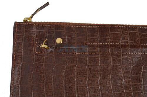 en cuir clair de marron crocodile ᄄᆭtui documents Porte avec neuf Yf67bgy