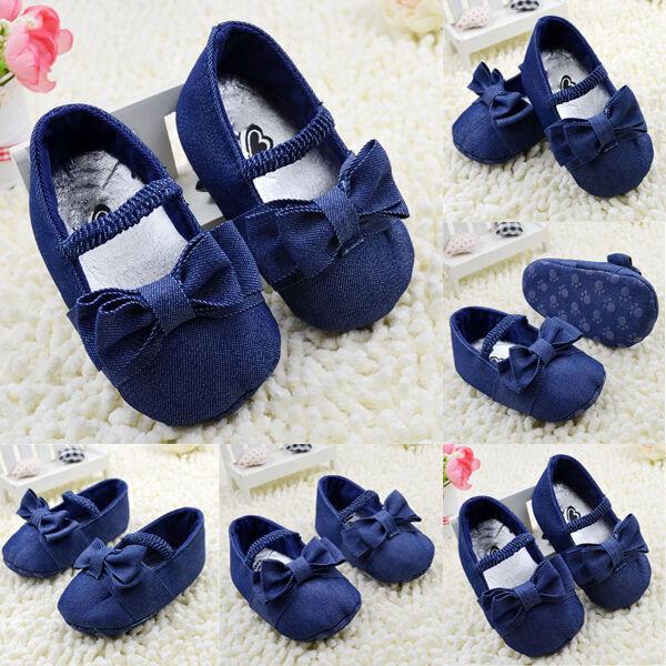 Denim Baby Shoes Girls Bowknot Crib Shoes Soft Sole Prewalker Newborn To 18M New