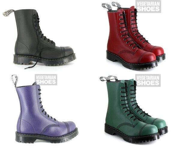 Vegetarian shoes 10-eyelet vegan Para Boots - BLACK   RED   PURPLE