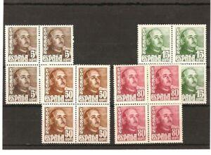 Sellos-de-Espana-Ano-1948-54-General-Franco-Sellos-nuevos-en-bloque-de-4