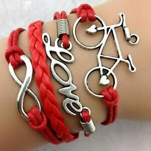 INFINITY-LOVE-RED-BICYCLE-PU-LEATHER-VINTAGE-BRACELET-COLOUR-WRAP-FRIENDSHIP