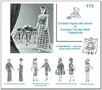 173 Knit & Crochet Doll Wardrobe Pattern & Tea Set Made For Vintage Barbie
