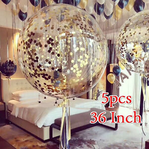 5pcs-36-Inch-Wedding-Giant-Clear-Balloons-with-Confetti-Premium-Latex-Balloon