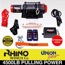 12v Electric Winch, 4500lb Synthetic Rope, Heavy Duty 4x4, ATV Recovery ~ RHINO