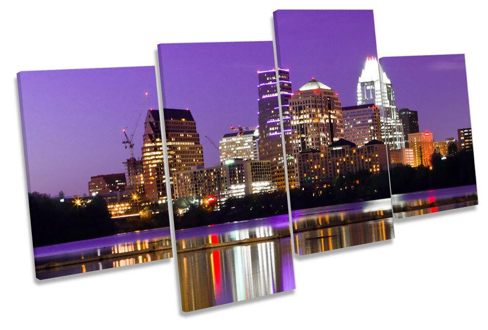 City Skyline Austin Texas MULTI CANVAS WALL ART Boxed Framed