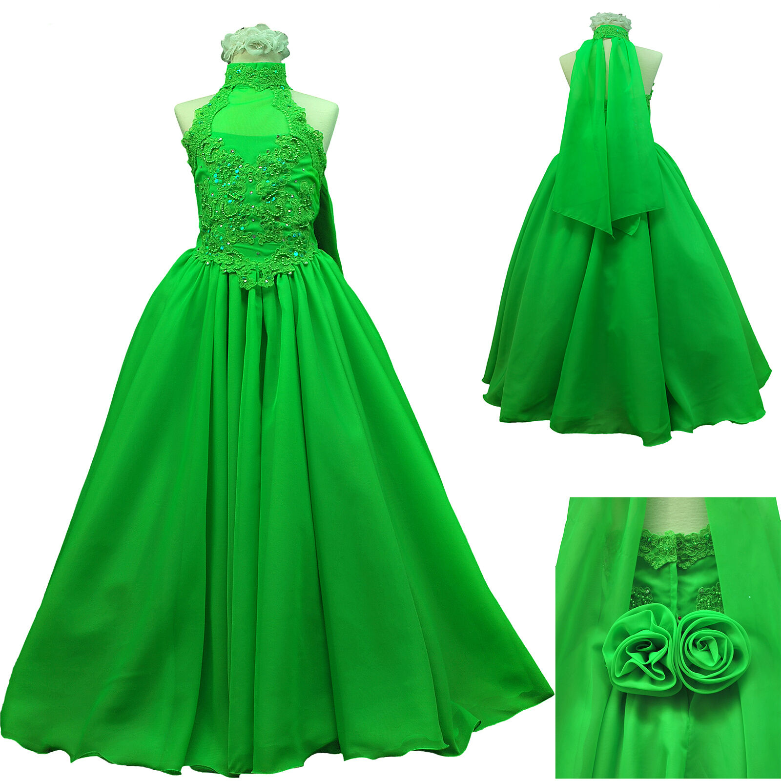 New Green Pageant Wedding Recital Formal Party Dress Teen Girl size:7 8 10 12 14