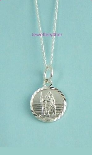"""925 Solid Silver 10mm D//C ST CHRISTOPHER PENDANT 16/"""" CHAIN Necklace Set HolyGIFT"""