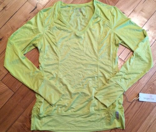NWT Womens TANGERINE Lime Green Stretchy Long Sleeve Performance Top Size Medium