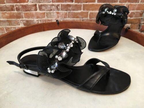 Vaneli Buzzy Black Leather /& Chiffon Jeweled Ruffle Thong Sandals NEW