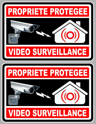 Quality And Quantity Assured Automobilia Devoted 2 X Video Surveillance Propriete Alarme Camera 10cm Autocollant Sticker Va050