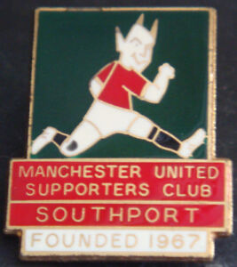 MANCHESTER UNITED FC SOUTHPORT SUPPORTERS CLUB badge Brooch pin 22mm x 27mm - my house, United Kingdom - MANCHESTER UNITED FC SOUTHPORT SUPPORTERS CLUB badge Brooch pin 22mm x 27mm - my house, United Kingdom