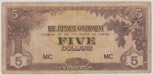 Mazuma *M1282 Malaya Japanese WWII JIM 1942 $5 MC VF
